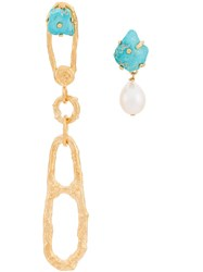 Forte Forte 'My Jewel' Earrings With Stones And A Pearl Gold