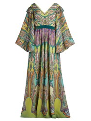 Etro V Neck Paisley Print Silk Crepe Gown Green Multi