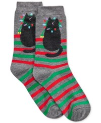 Charter Club Women's Goofy Holiday Cat Socks Only At Macy's Grey Heather