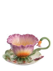 Franz Pansy Tea Cup And Saucer