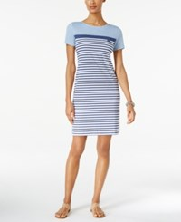 Karen Scott Striped Sheath Dress Only At Macy's Light Blue Heather