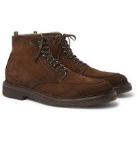 Officine Creative Stanford Burnished Suede Boots Brown