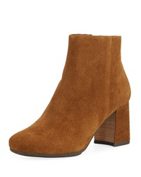 Gentle Souls Troy Suede Block Heel Booties Walnut