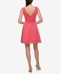 Guess Sleeveless Laser Cutout Fit And Flare Dress Grapefruit