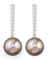 Gray South Sea Pearl And Diamond Bar Drop Earrings Eli Jewels Blue