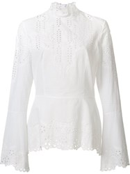 Yigal Azrouel Embroidered Eyelet Blouse White