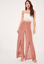 Missguided Pink Slinky Split Front Wide Leg Trousers Rose