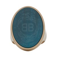 Balenciaga Blue And Gold Oval Chevaliere Ring