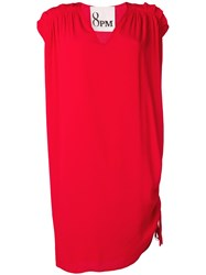 8Pm Pleated Shoulder Shift Dress Red