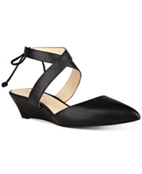 Nine West Elira Pointed Toe Two Piece Wedges Women's Shoes Black Leather
