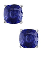 Sterling Silver Created Blue Sapphire Cushion Stud Earrings