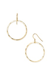 Argentovivo Medium Hammered Hoop Earrings Gold Vermeil High Polish
