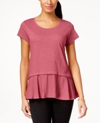 Style And Co Petite Layered Look Peplum T Shirt Only At Macy's Cream Blush