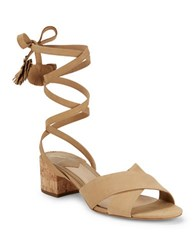 Brian Atwood Astor Nubuck Leather Sandals Camel