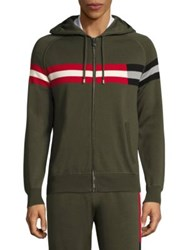 Bally Striped Hooded Sweater Evergreen