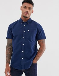 Abercrombie And Fitch Icon Logo Short Sleeve Oxford Shirt In Navy