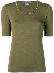 Majestic Filatures Contrast Trim Top Green