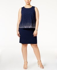 Jessica Howard Plus Size Embellished Popover Dress Navy