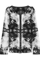 Tart Collections Krista Leather Trimmed Tie Dyed Silk Top Black
