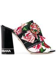 Dolce And Gabbana Floral Print Mules Black