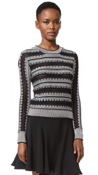 Maiyet Long Sleeve Crew Neck Sweater Black White