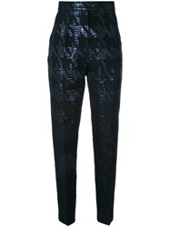 Martin Grant Houndstooth Cigarette Trousers Black