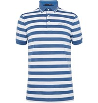 Rlx Ralph Lauren Triped Tretch Pique Polo Hirt Blue