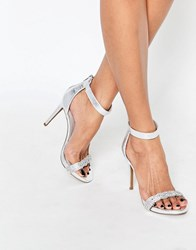 New Look Metallic Embellished Barely There Heeled Sandal Silver