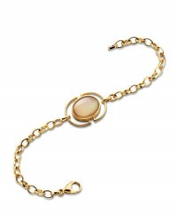 Monica Rich Kosann Cognac Mother Of Pearl Locket Station Bracelet In 18K Yellow Gold