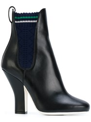 Fendi Heeled Ankle Boots Women Calf Leather Leather Cotton 37.5 Black