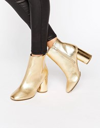 London Rebel Gold Round Heel Boot Gold Pu