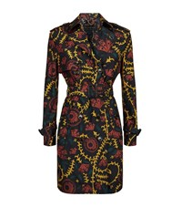 Burberry London Floral Print Silk Wool Trench Coat Female Blue
