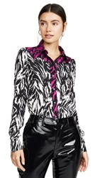 N 21 No. Zebra Contrast Button Down Top Black White Pink