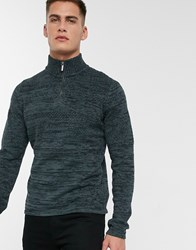 Only And Sons Quarter Zip Knitted Jumper Grey