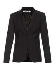Mcq By Alexander Mcqueen Zip Cuff Two Button Wool Blazer Black