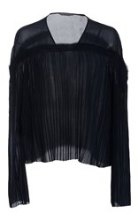 Maiyet Pleated V Neck Top Navy