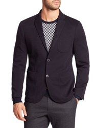 Sand Wool Blend Knit Sport Jacket Navy