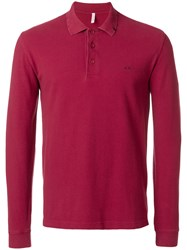 Sun 68 Fitted Polo Sweatshirt Cotton M Red