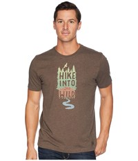 Life Is Good Hike Into The Wild Crusher T Shirt Heather Rich Brown T Shirt Beige