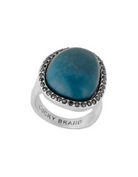 Lucky Brand Teal Jade Pave Statement Ring Silver