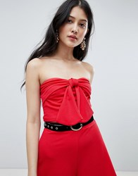 Oh My Love Knot Front Crop Top Red