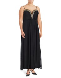 Betsy And Adam Embellished Pleated A Line Gown Black