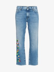 Mira Mikati Wonder Embroidered Cropped Jeans Blue