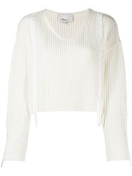 3.1 Phillip Lim Ribbon Weave Cropped Sweater Neutrals