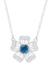 Victoria Townsend Blue Topaz 1 2 Ct. T.W. And Diamond Accent Flower Pendant Necklace In Sterling Silver