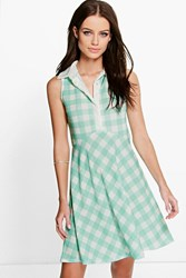 Boohoo Sleeveless Polo Skater Dress Turquoise
