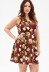 Forever 21 Rose Print Fit And Flare Dress
