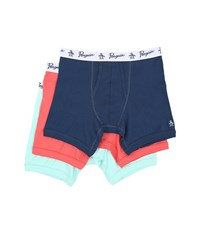 Original Penguin 100 Cotton 3 Pack Boxer Brief Dark Blue Coral Blue Tint Men's Underwear Multi
