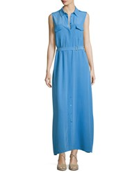 Equipment Major Sleeveless Button Front Maxi Shirtdress Blue