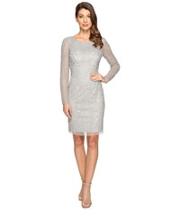 Adrianna Papell Long Sleeve Beaded Cocktail Dress Blue Mist Women's Dress